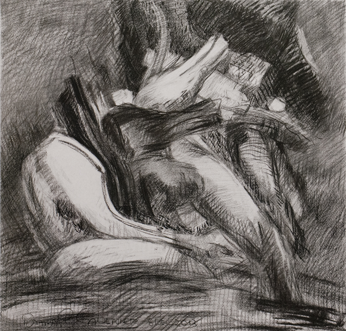 """Drawing 12/8/13, December 2013, charcoal, 24.5 x 25.5""""."""
