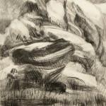 "Drawing 2/22/13, February 2013, charcoal, 26.5 x 21.25"""