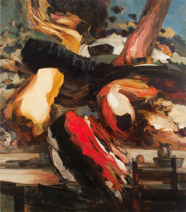 "Picnic, December 2013, oil on canvas, 72.25 x 63.25""."