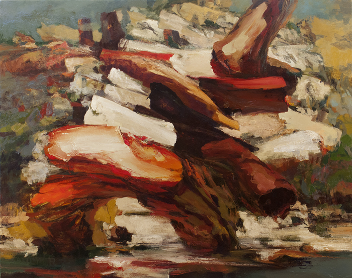"""Stack Series Two, September 2013, oil on canvas, 70 x 87.5""""."""