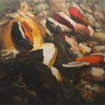 """""""Silent Reading"""", 2015, oil on linen, 74 x 92.5""""."""