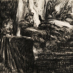 "Drawing  for 'Voice and Measure', 2005, 21 x 26.5"", charcoal on paper."